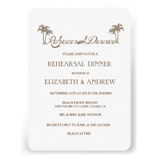 Tropical Palm Trees Beach Rehearsal Dinner Personalized Announcements