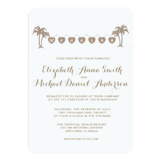Tropical Palm Trees Beach Wedding/Vintage Sepia Custom Invite