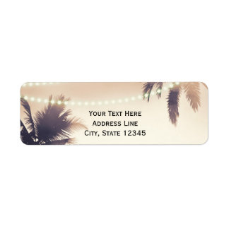 Tropical Palm Trees & Lights Cream Dream Return Address Label