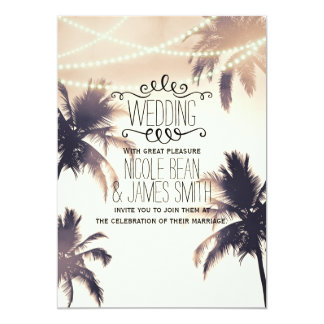 Tropical Palm Trees & Lights Cream Dream Wedding 13 Cm X 18 Cm Invitation Card