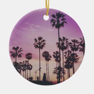 Tropical Palm Trees Miami Los Angeles Venice Ceramic Ornament