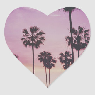 Tropical Palm Trees Miami Los Angeles Venice Heart Sticker