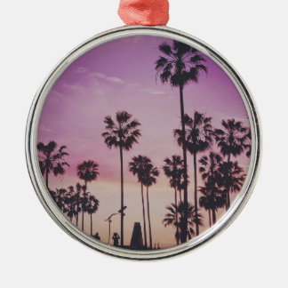 Tropical Palm Trees Miami Los Angeles Venice Metal Ornament