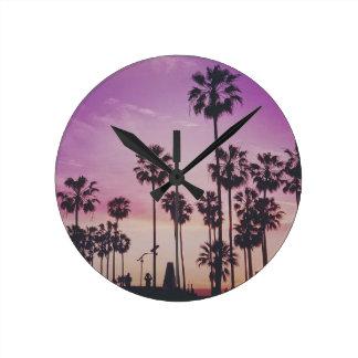 Tropical Palm Trees Miami Los Angeles Venice Round Clock