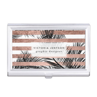 Tropical palm trees modern rose gold stripes business card holder