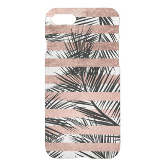 Tropical palm trees modern rose gold stripes iPhone 7 case