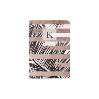 Tropical palm trees modern rose gold stripes passport holder