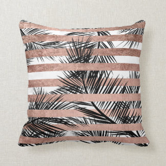 Tropical palm trees modern rose gold stripes throw pillow