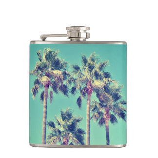 Tropical Palm Trees on Teal Green Flask
