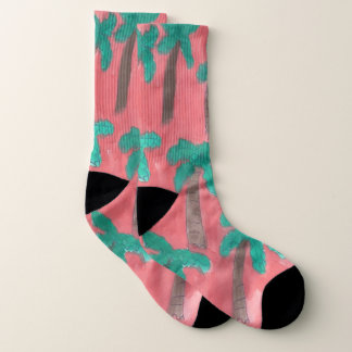 Tropical Palm Trees Pink Socks 1