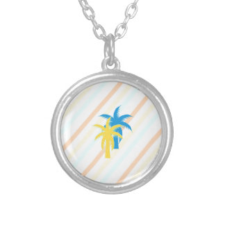 tropical palm trees silver plated necklace