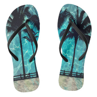 Tropical Palm Trees Summer Fun Flip Flops Thongs