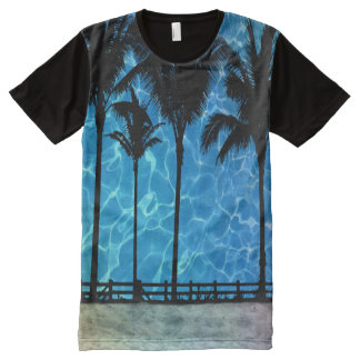 Tropical Palm Trees Summer Graphic T-Shirt All-Over Print T-Shirt