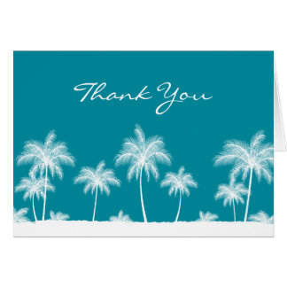 Tropical Palm Trees Teal Blue Thank You Card