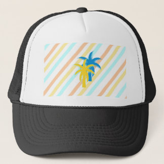tropical palm trees trucker hat