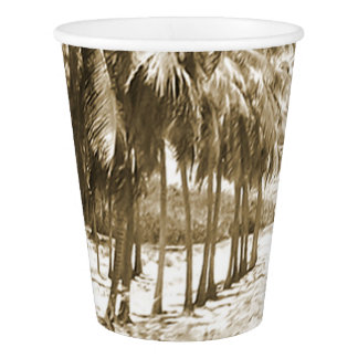 Tropical Palm Trees Vintage Paper Cup