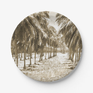 Tropical Palm Trees Vintage Paper Plate