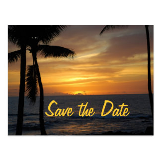 Tropical Palm Trees Wedding Date Post Cards