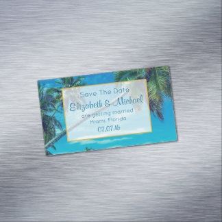 Tropical Palm Trees Wedding Save The Date Magnetic Business Card