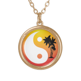 Tropical Palm Trees Yin Yang Necklace