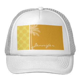Tropical Palm; Yellow Orange Swirl Trucker Hat