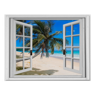 Tropical Palms and Ocean Faux Window View Poster