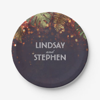 Tropical Palms and String Lights Beach Wedding Paper Plate