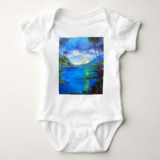 Tropical Palms Blue Baby Bodysuit