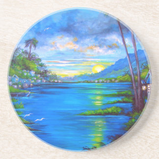 Tropical Palms Blue Coaster