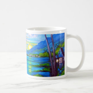 Tropical Palms Blue Coffee Mug