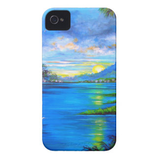 Tropical Palms Blue iPhone 4 Case-Mate Cases