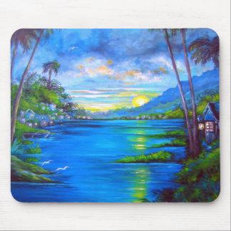 Tropical Palms Blue Mouse Pad