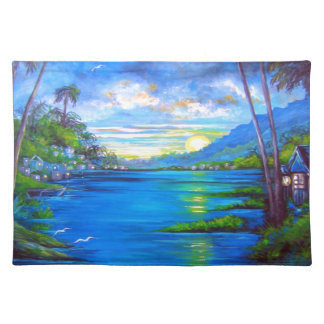 Tropical Palms Blue Placemat