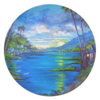 Tropical Palms Blue Plate