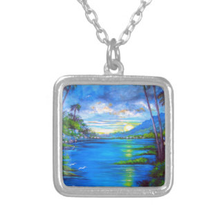 Tropical Palms Blue Silver Plated Necklace