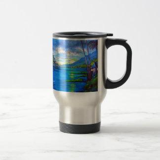 Tropical Palms Blue Travel Mug