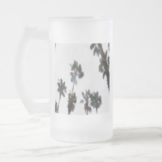 Tropical Palms Frosted Glass Beer Mug