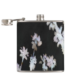 Tropical Palms Negative Hip Flask