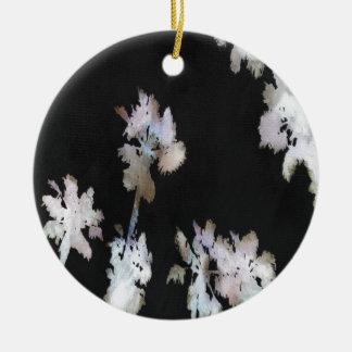 Tropical Palms On Black Background Ceramic Ornament