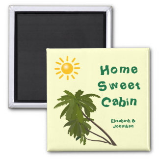 Tropical Palms Personalised Cabin Door Marker Square Magnet