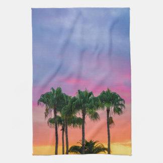 Tropical Palms with a Rainbow Sky Tea Towel