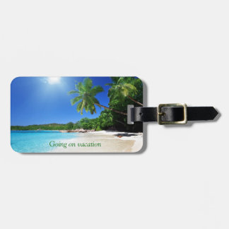 Tropical palmtrees paradise beach luggage tag