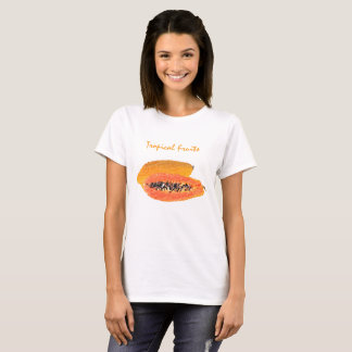 Tropical Papaya  Basic Tee Shirt Woman