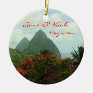 Tropical Paradise Customizable Wedding Ornament