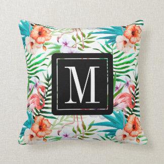 Tropical Paradise Flamingo Flowers Leaves Monogram Cushion