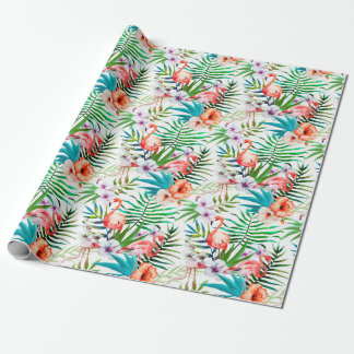 Tropical Paradise Flamingo Flowers Leaves Wrapping Paper