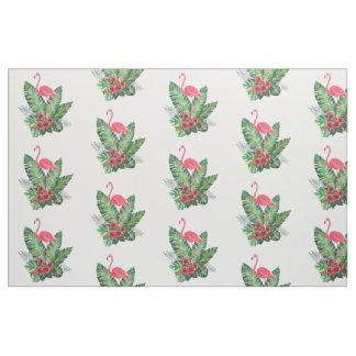 Tropical Paradise Flamingo Hibiscus Flowers Leaves Fabric