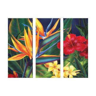 Tropical Paradise Hawaiian 3-Panel Wrapped Canvas