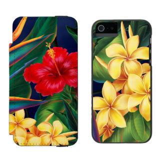 Tropical Paradise Hawaiian Floral and Plumeria Duo Incipio Watson™ iPhone 5 Wallet Case
