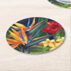 Tropical Paradise Hawaiian Floral Round Paper Coaster